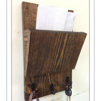 rustic wood hanging mail holder and key rack wall mail sorter and key holder
