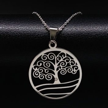 Tree of Life Stainless Steel Pendants Necklaces Silver Plated statement necklace Women And Men Jewelry acero inoxidable N16811