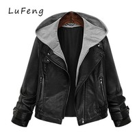 Grey Hooded Leather Jacket Plus Size 4xl 5xl Women Winter Biker Coat 2017 Long Sleeve Perfecto Femme Cuir Deri Ceket 9002-912