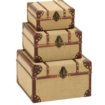 Old Look Burlap Travel Trinket Box Set
