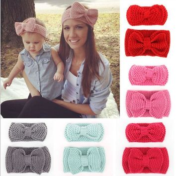 Women Knot Knit Headband Bow Crochet Turban Head Wrap Hair Accessories-6