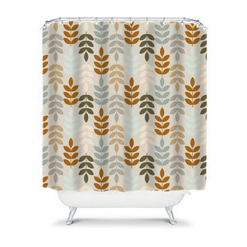 Shower Curtain Monogram Wheat Leaves Earth Tones Beige Tan Bathroom Bath Polyester Made in the USA