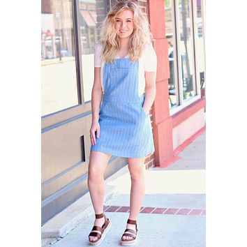 Medium Denim Barely Striped Overall Dress