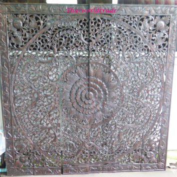 "Rare King Bed Headboard  72"" 6ft Sculpture Lotus Flower Wooden Hand Craved Craving Teak Wood Art Panel Panels Wash Wall Home Decor Thai"