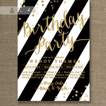 gold glitter birthday party invitation black white stripe mode