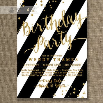 Gold Glitter Birthday Party Invitation Black & White Stripe Modern Gatsby Confetti Surprise Milestone Printable Digital or Printed - Wendy
