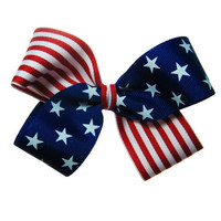 4th of July USA Flag Patriotic Hair Bow in by APinkLemonadeDesigns