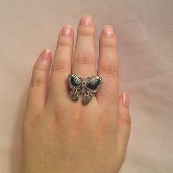 Black Onyx Butterfly Ring