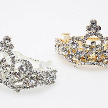 1pc Elegant Headdress Wedding Bridal tiara Crystal Hairpin Crystal Barrette Crown Hair Jewelry Brides Gold Accessories D469