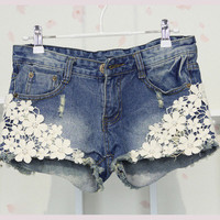Denim Shorts-Flower Lace
