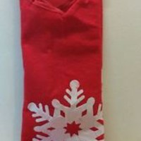 Holiday Style Christmas tree felt tree skirt red with snow flake New