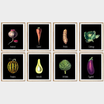 Kitchen Art Print SET of 8. cabbage print, healthy eating, healthy kitchen, pumpkin print, dining room art, bright kitchen prints, 11x14