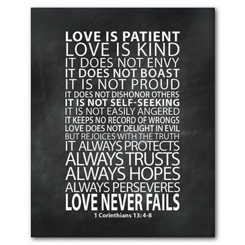 Love Never Fails Love is patient love is kind Bible verse - Typographical Art Print - Wall Art - inspirational print - 1 Corinthians 13:4-8