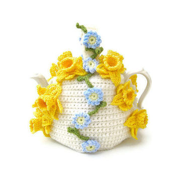 Crochet tea cosy Spring flowers teapot cozy floral cosies crocheted cottage chic kitsch cozy with daffodils and forget me nots
