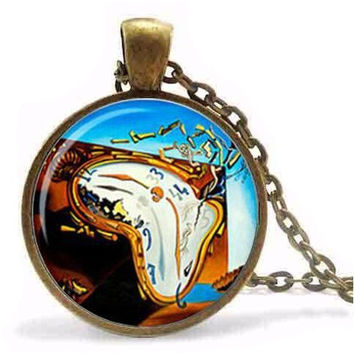STEAMPUNK ALICE IN WONDERLAND SALVADOR DALI CLOCK WATCH NECKLACE JEWELRY PENDANT NECKLACE GIFT WOMEN MEN CHAIN FASHION VINTAGE