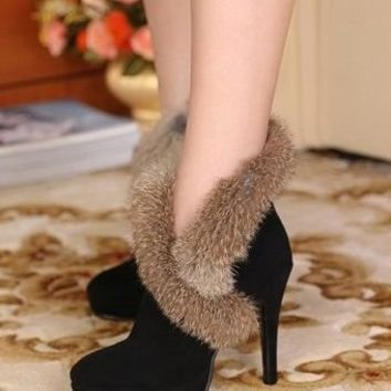 Lady Luxury Side Zipper Rabbit Fur Overlay High Heel Boots