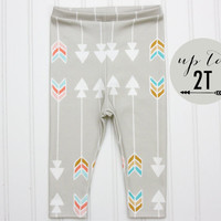 ORGANIC Cotton Knit Baby Toddler Tribal Arrow Leggings