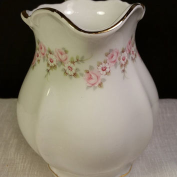"Mitterteich Bavaria ""Lady Beatrice"" Creamer Germany Pink Flowers Gilding Curved Handle Replacement China Hard to Find Creamer Shabby Chic"