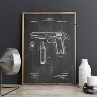 Colt M1911, Colt M1911 Patent, Pistol Blueprint, Colt 1911, Gun Blueprint, Gun Wall Decor, Colt M1911 Poster, Gun Poster, INSTANT DOWNLOAD
