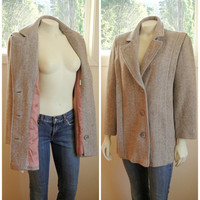 25% Sale 80's Herringbone Tweed Coat. Beige Cream. Herman Kay Coat. Classic. Medium Large Petite 10P 12P