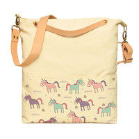 Unicorn Patterns Printed Canvas Leather Strap Crossbody Messenger Bags WAS_35