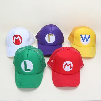 Trendy Winter Jacket Game Super Mario Bros Hat Mario Luigi Yoshi Adjustable Buckle Baseball Cap Sun Snapback Hats AT_92_12