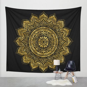 Black and Gold Mandala wall tapestry/Black Gold Mandala tapestry/wall decoration/dorm decor/mandalas decor/mandalas tapestry.Chic tapestry