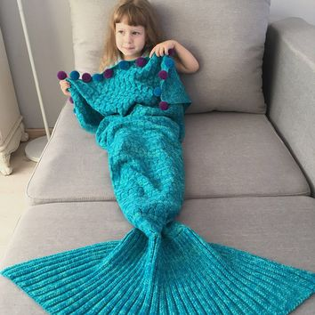 Pom Ball Crochet Knitted Mermaid Blanket Throw For Kids