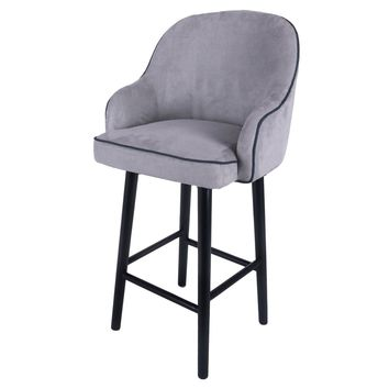 Terry Fabric Swivel Bar Stool Black Legs, Denim Dove Gray
