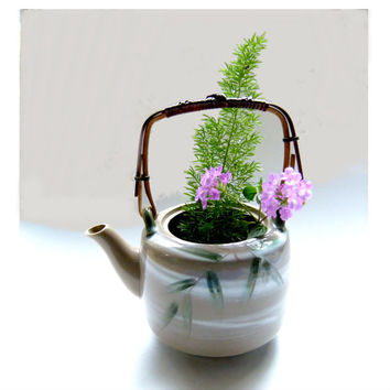 Japan MOC Teapot with Handpainted Bamboo Leaves and Wicker Handle Asian Decor Repurposed Vase