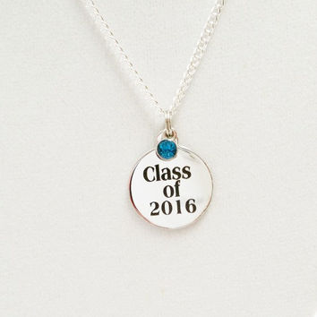Graduation gift for her / Class of 2016 Necklace / Class of 2016 Birthstone necklace / 2016 graduation gift / College graduation gift