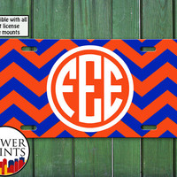 Orange And Blue Chevron Pattern Monogram Initials Personalized Accessory For Front License Plate Car Tag One Size Fits All Vehicle Custom