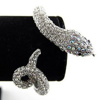 Silver Toned Metal Alloy Clear AB Crystal Rhinestone Snake Cuff Bracelet Bangle