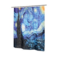 "Carnation Home Fashions The Starry Night Fabric Shower Curtain, 72""L x 70""W"