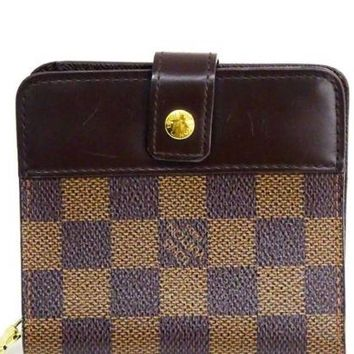 LOUIS VUITTON Damier Compact Zip N61668 Japan F/S Bi-fold Wallet Very Good A0013