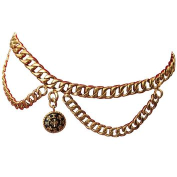 Chanel Vintage Gold Plated Belt with Charm