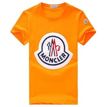 MONCLER 2018 new wild trend men and women round neck short-sleeved T-shirt Orange
