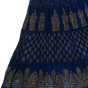 Blue print Indian Skirt, Maxi Skirt, wedding wear,Long Indian Bollywood Skirt, Belly dance skirt, Gypsy skirt, Flowy Indian Skirt