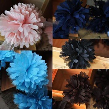 6cm Diameter Bouquet of Flowers Chiffon Lace Material for Arts & Crafts-Color Black