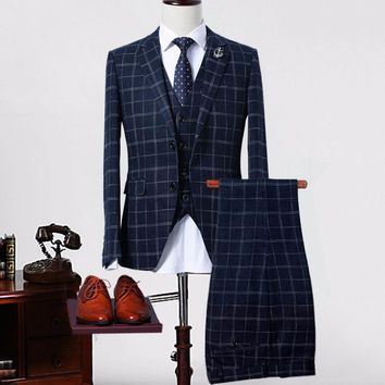Crown Wool Plaid Suit