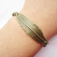 braceletantique bronze feather pendant&alloy chain by lightenme
