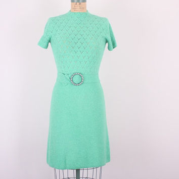 1960s St John Knit Dress // VTG A-Line Dress // Vintage Emerald Knit Dress // Summer Dress (small -medium)