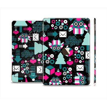 The Pink & Teal Owl Collaged Vector Shapes Skin Set for the Apple iPad Air 2