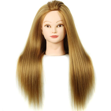 "Female Training Mannequin Head Hair Yaki Dummy Head 24"" Maniqui Hairdressing Doll Heads Women Educational Training Hairdresser"