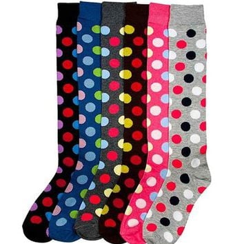 6 Pack Women Multi Pattern Playful and Colorful Knee High Socks
