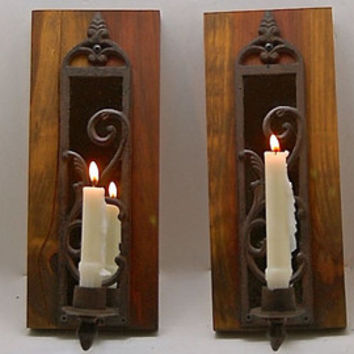 Rustic Candle Sconces, Handmade reclaimed Wood Sconce Pair, Candle Sconce with Mirrored Heart cut out -Ready to Hang, includes Wall Hardware