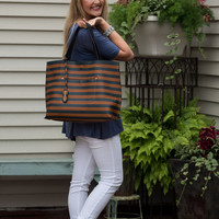 Amelia Stripe Tote -  Brown