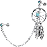 16 Gauge Aqua Gem Inspire Dreamcatcher Cartilage Tragus Barbell Chain Earring | Body Candy Body Jewelry