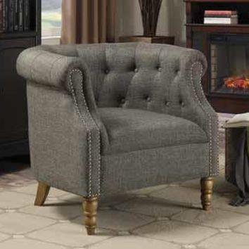 Lizette iii collection grey linen like fabric upholstered accent chair with tufted back and nail head trim