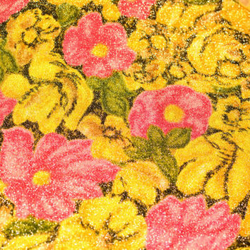 Vintage 60s Floral Print Silver Lamé Fabric Yardage - Pink Green Yellow Silver